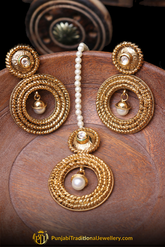 White Antique Gold Earring Tikka Set By Punjabi Traditional Jewellery