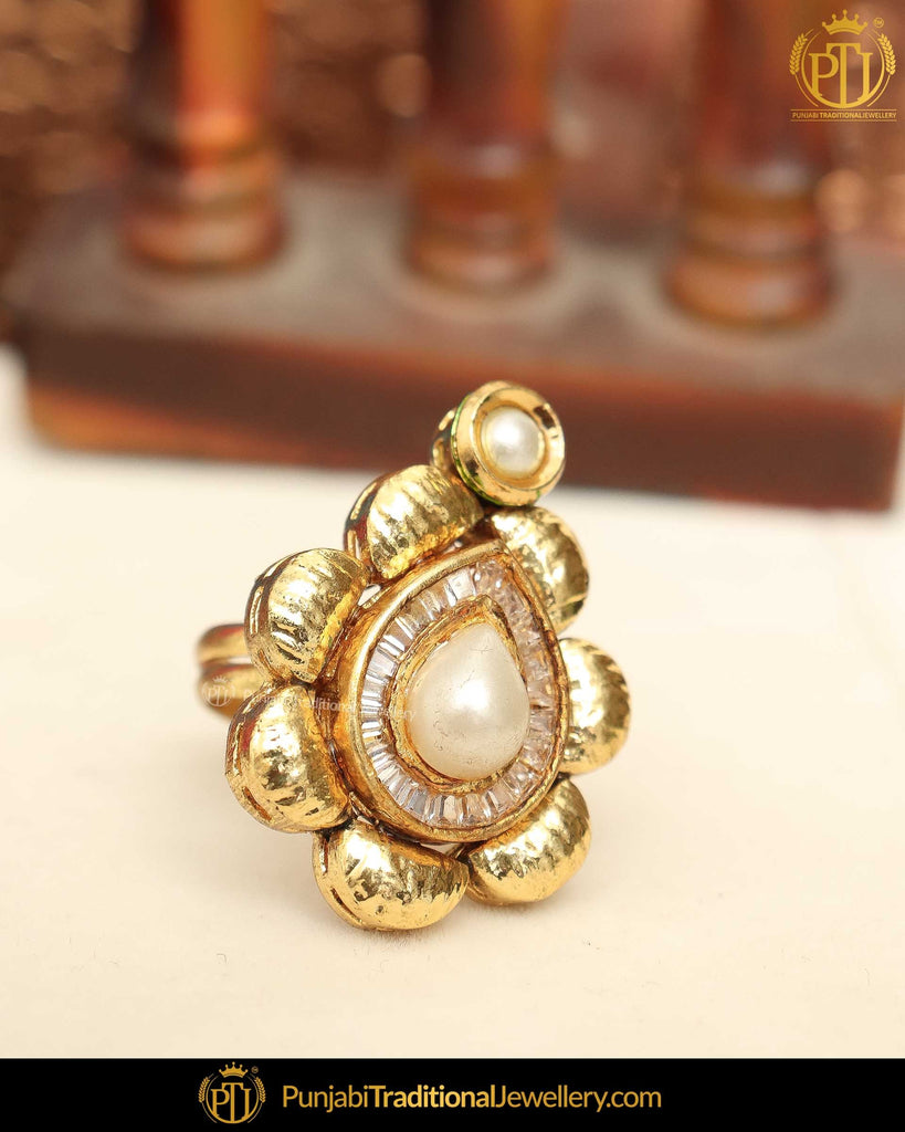 Gold Finished Pearl Ring | Punjabi Traditional Jewellery Exclusive