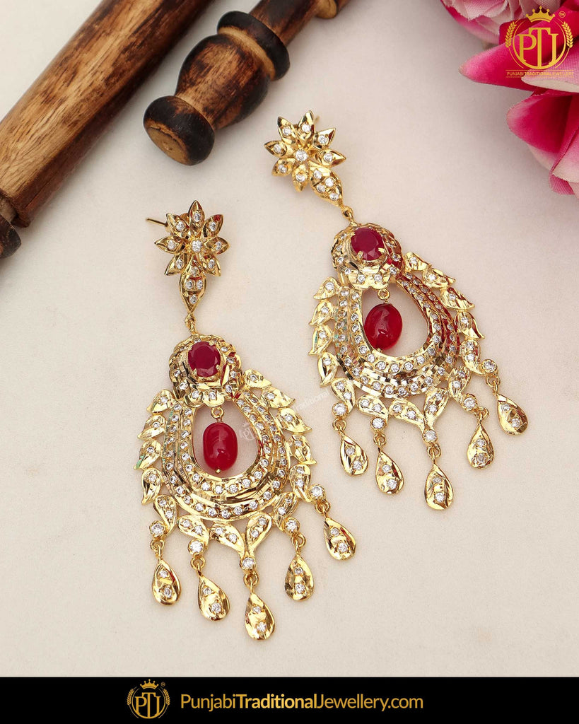 Gold Finished Red Jadau Pearl Earrings | Punjabi Traditional Jewellery Exclusive