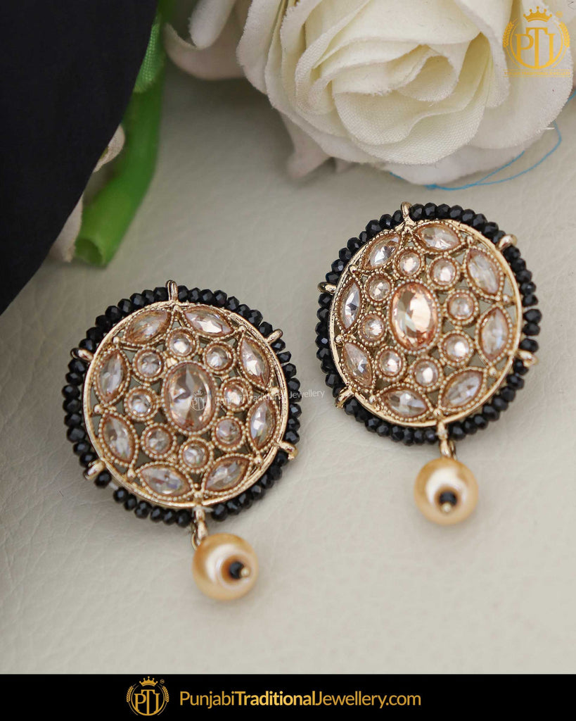 Gold Finished Black Champagne Stone Pearl Stud Earrings | Punjabi Traditional Jewellery Exclusive