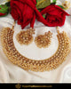 Gold Finished Pearl Chamapgne Stone Necklace Set | Punjabi Traditional Jewellery Exclusive