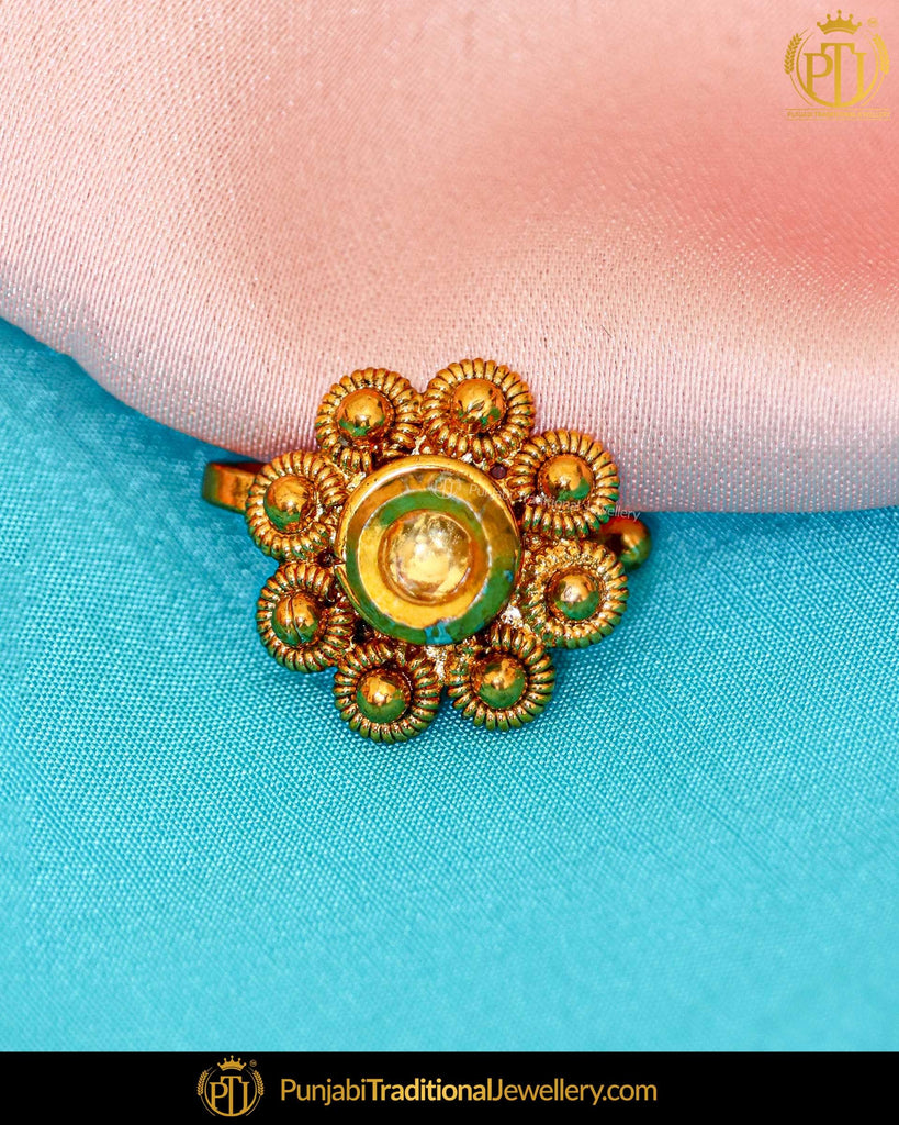 Antique Gold Finished Nose Pin | Punjabi Traditional Jewellery Exclusive