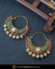 Gold Finished Emerald Rubby Pearl Bali Earrings | Punjabi Traditional Jewellery Exclusive