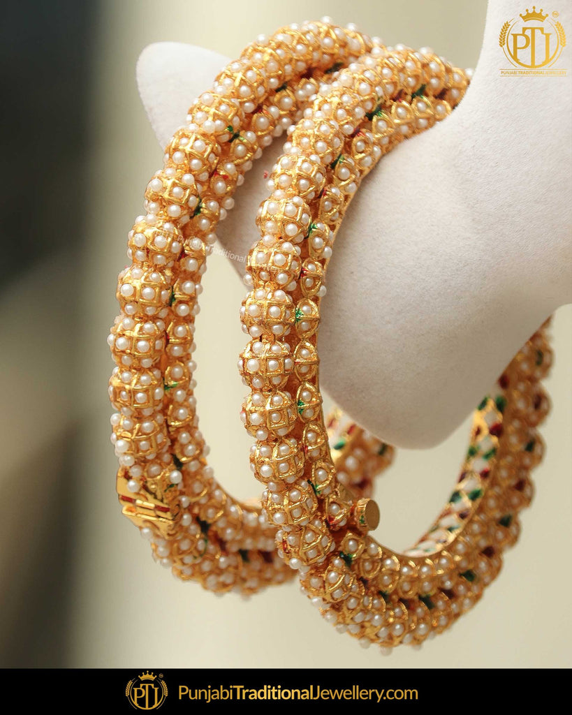 Gold Finished Pearl Karra Bangles (Pair)| Punjabi Traditional Jewellery Exclusive