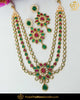 Gold Finished Rubby Emerald Kundan Necklace Set | Punjabi Traditional Jewellery Exclusive