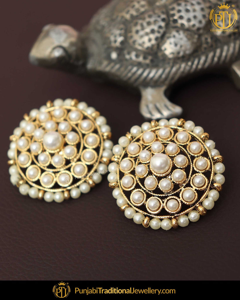Gold Finished Chamapgne Stone Rubby Pearl Stud Earrings | Punjabi Traditional Jewellery Exclusive