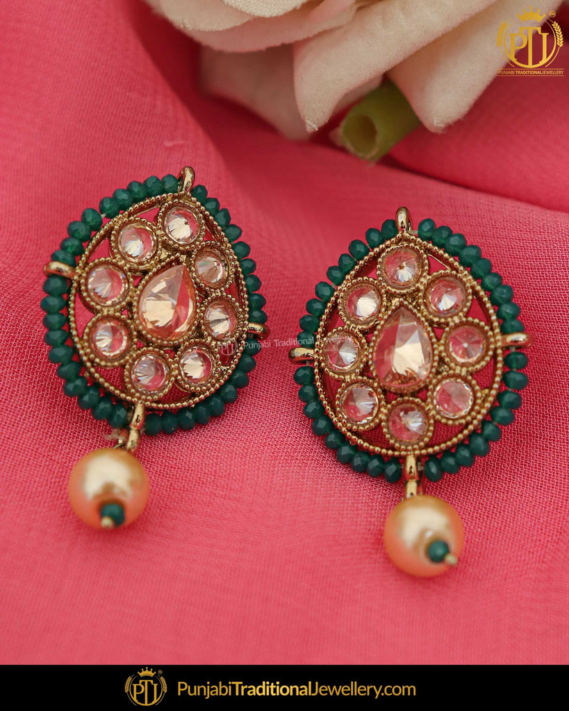 Gold Finished Green Champagne Stone Pearl Stud Earrings | Punjabi Traditional Jewellery Exclusive