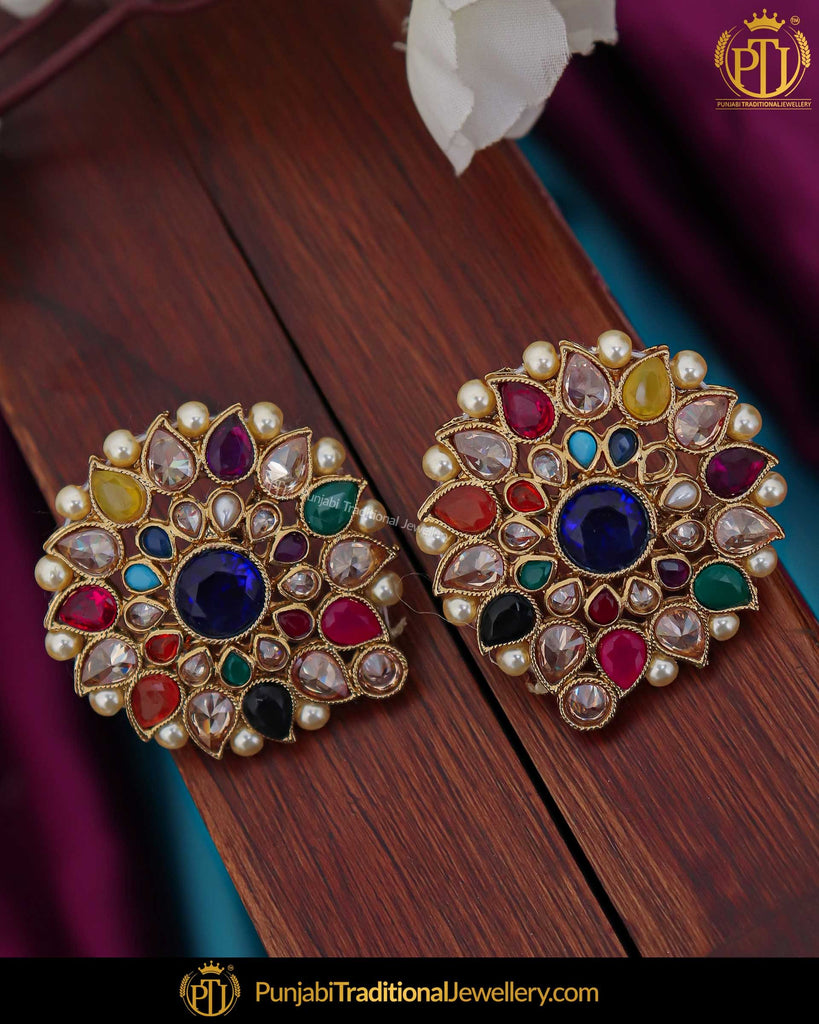 Gold Finished Navaratan Champagne Stone Stud Earrings | Punjabi Traditional Jewellery Exclusive