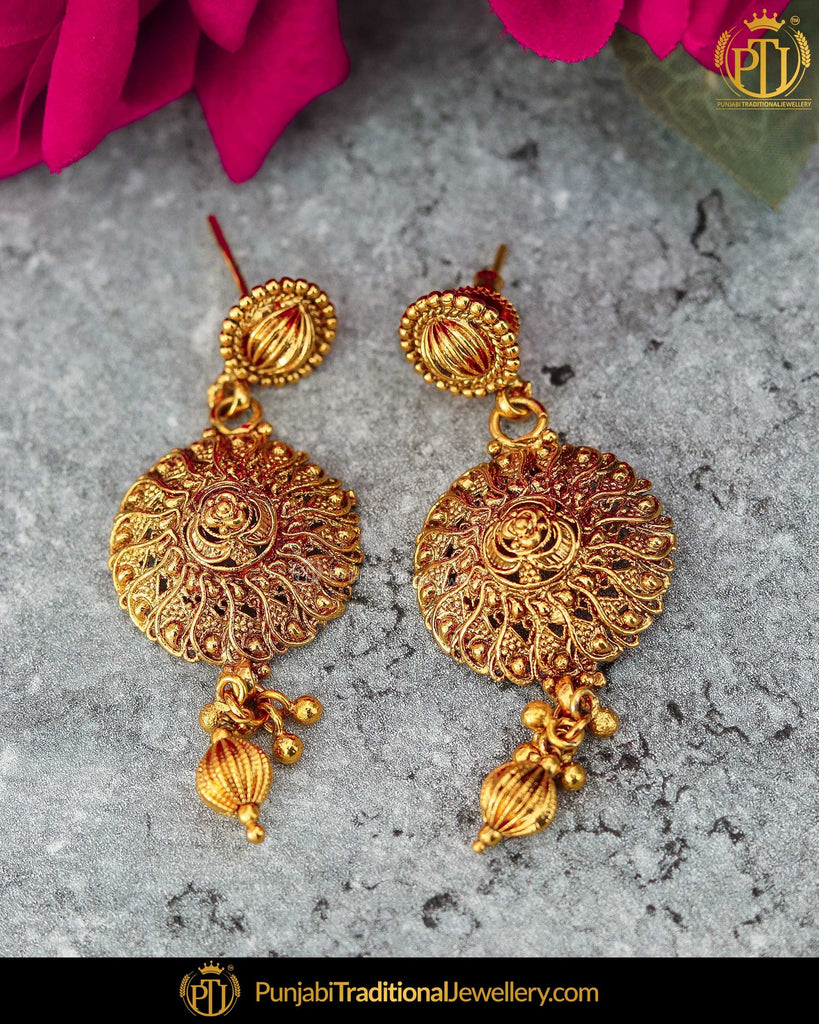 Antique Gold Finished Stud Earrings | Punjabi Traditional Jewellery Exclusive