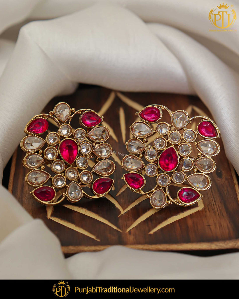 Gold Finished Pink Champagne Stone Stud Earrings | Punjabi Traditional Jewellery Exclusive