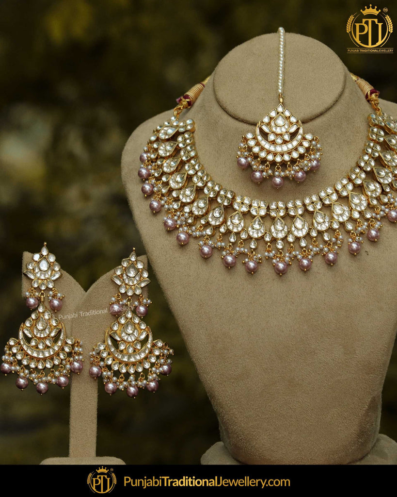 Gold Finished Metallic Pink Pearl Kundan Stone only Necklace Set | Punjabi Traditional Jewellery Exclusive