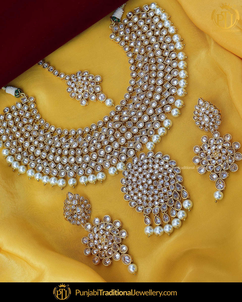 SIlver Gold Finished Pearl Polki Necklace Set | Punjabi Traditional Jewellery Exclusive