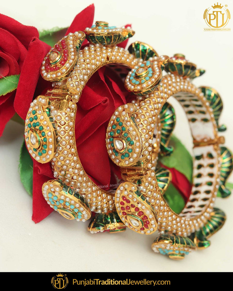 Gold Finished Multi Pearl Karra Bangles (Pair)| Punjabi Traditional Jewellery Exclusive