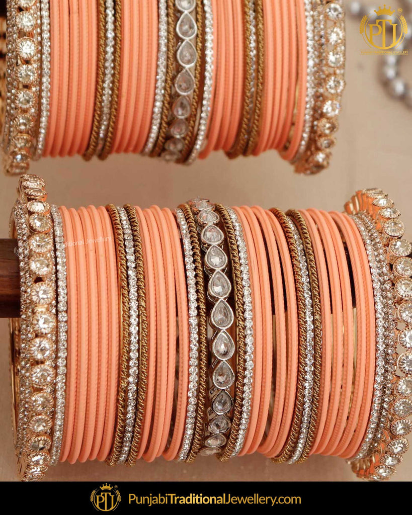 Peach & Gold (For Both Hands) Bangles Set | Punjabi Traditional Jewellery Exclusive