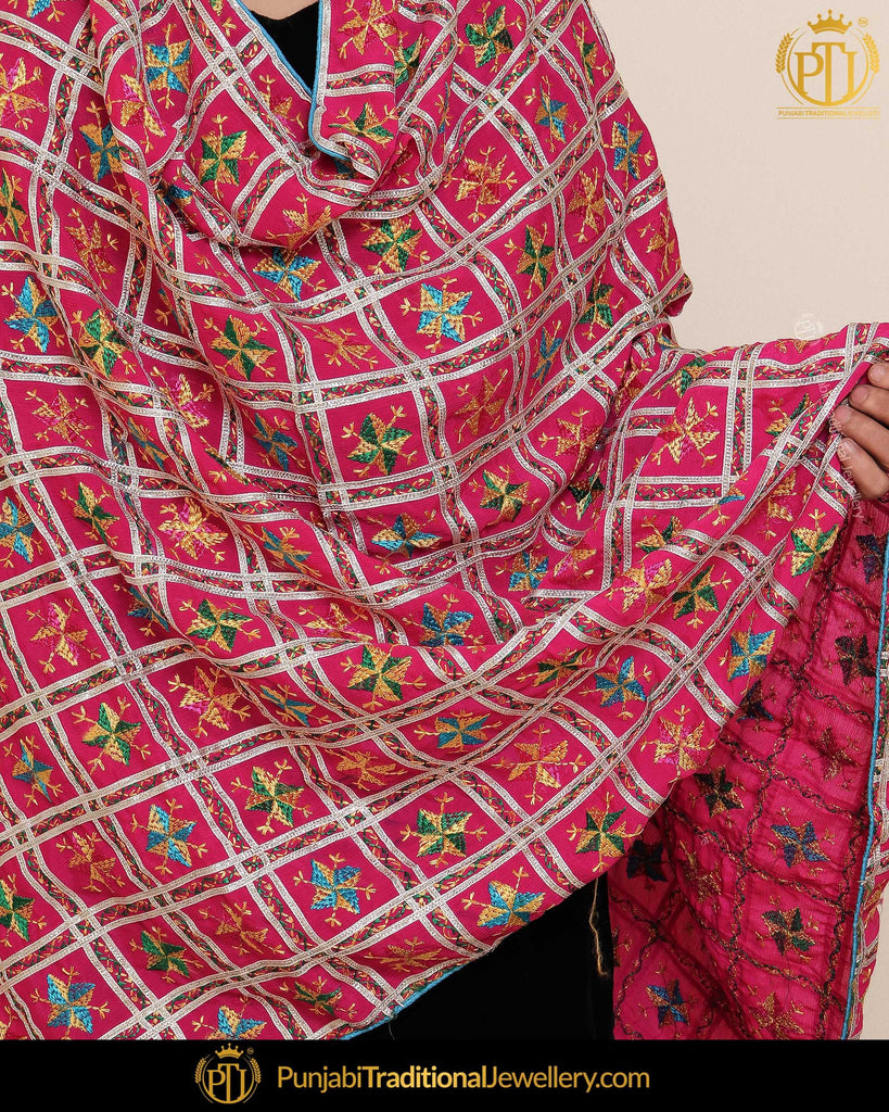 Pink Shade Satrangi Color Phulkari | Punjabi Traditional Jewellery Exclusive