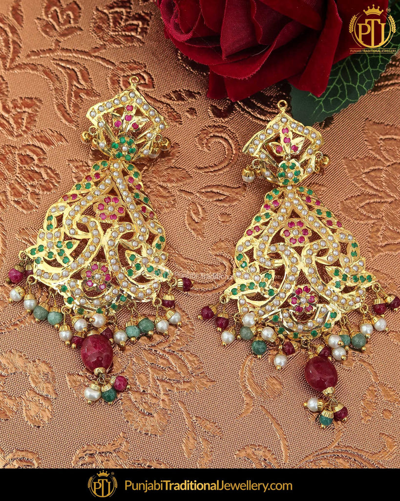 Gold Finished Rubby Emerald Pearl Jadau Earrings | Punjabi Traditional Jewellery Exclusive