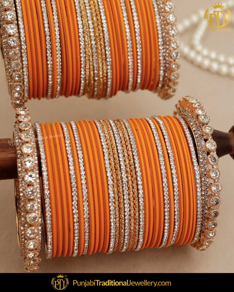 Yellow Gold & Silver (For Both Hands) Bangles Set | Punjabi Traditional Jewellery Exclusive