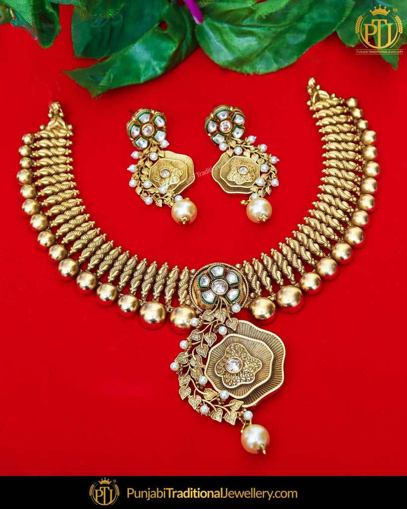 Antique Gold Finished Kundan Pearl Johda Necklace Set  | Punjabi Traditional Jewellery Exclusive