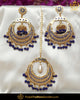 Gold Finished Blue Jadau Pearl Earring Tikka Set  | Punjabi Traditional Jewellery Exclusive