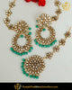 Gold Finished Pearl Ramagreen Kundan Sahare Earrings & Tikka Set | Punjabi Traditional Jewellery Exclusive