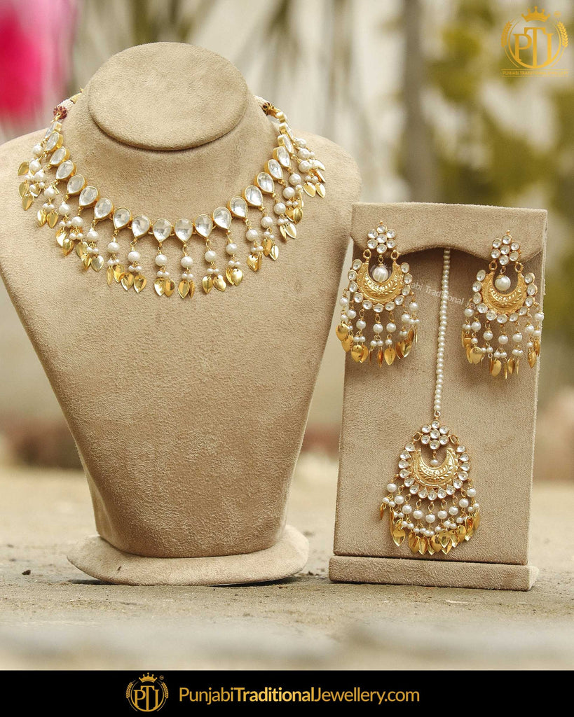 Gold Finished Pippal Patti Kundan Pearl Necklace Set | Punjabi Traditional Jewellery Exclusive
