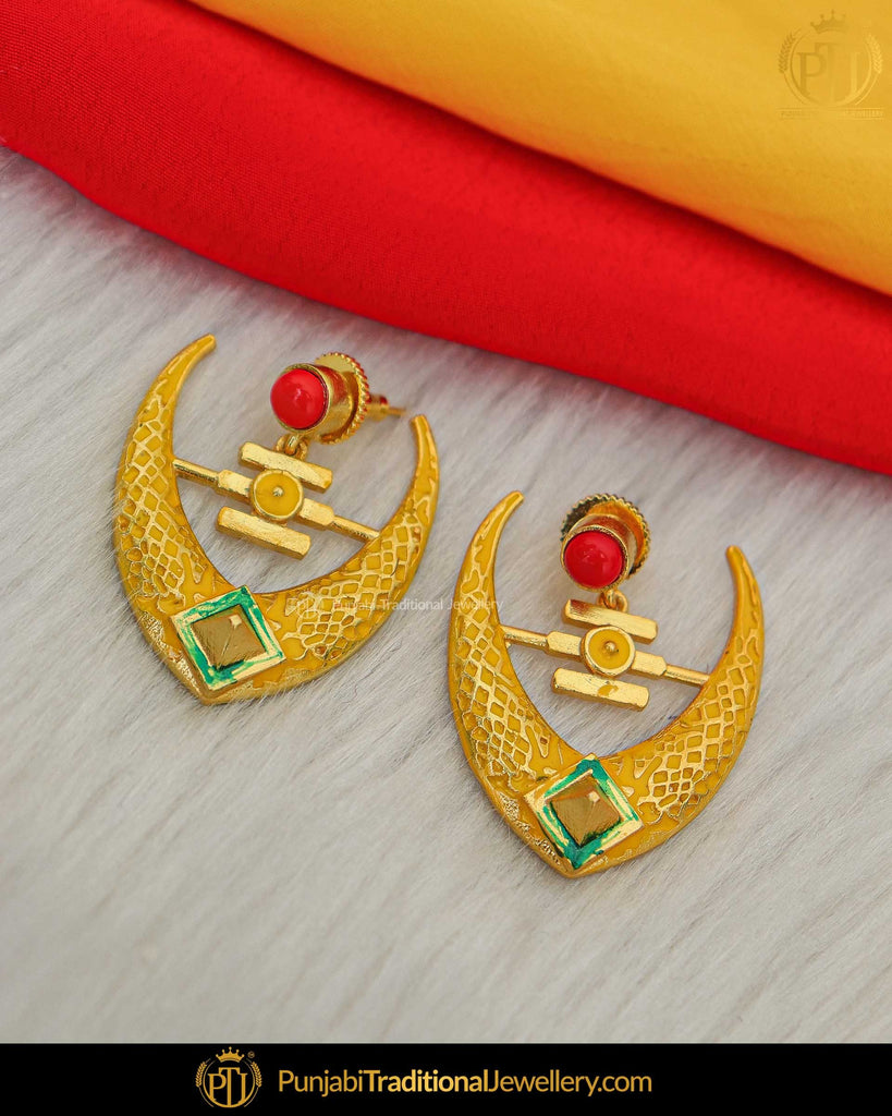 Hand Painted Meena Yellow & Red Earrings| Punjabi Traditional Jewellery Exclusive