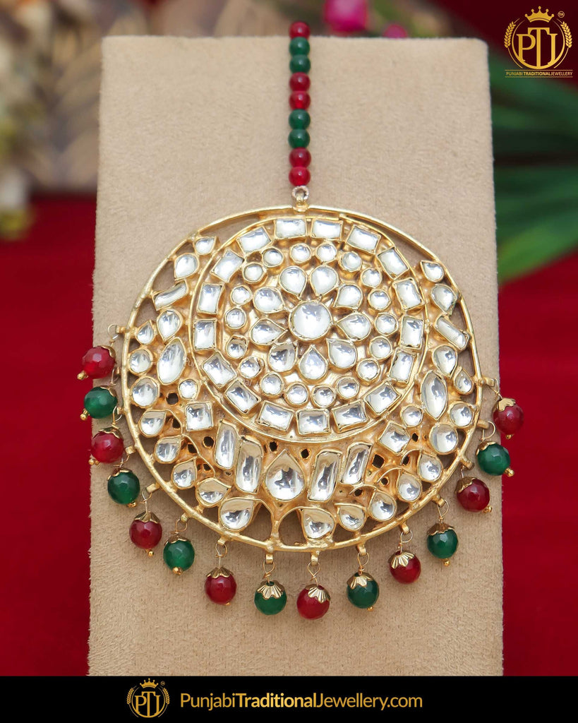 Gold Finished Kundan Green Red Pearl Tikka | Punjabi Traditional Jewellery Exclusive