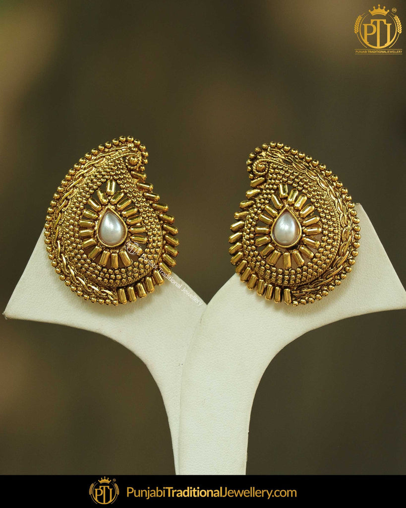 Antique Gold Finished White Stone Earrings By Punjabi Traditional Jewellery