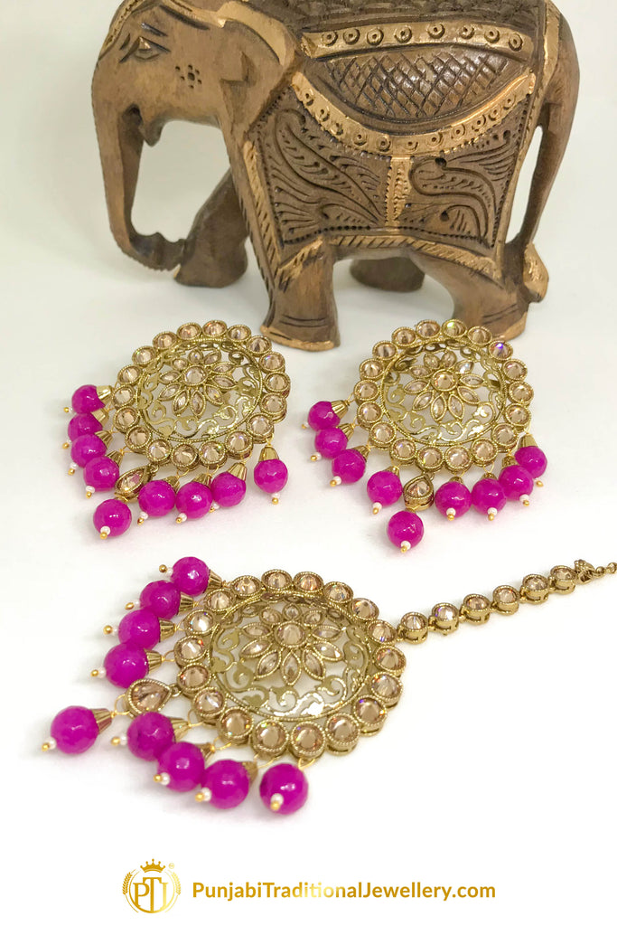 Antique Gold Champagne Stone Hot Pink Stud Oversized Earrings & Tikka Set By Punjabi Traditional Jewellery