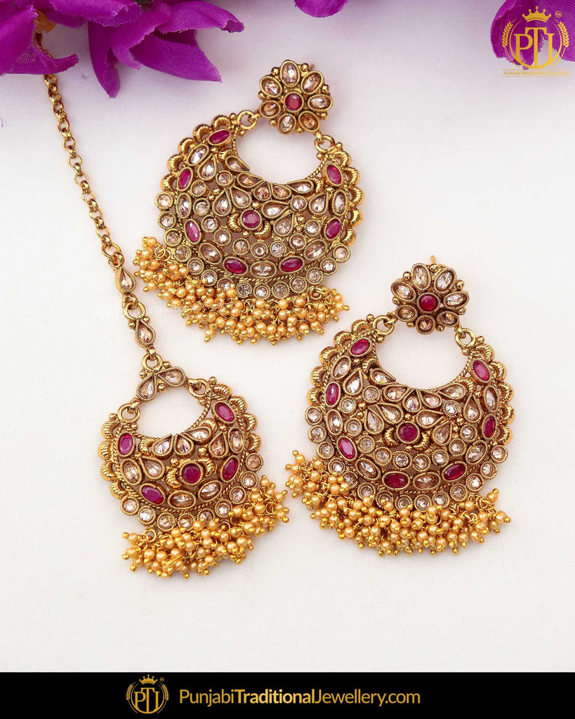 Gold Finished Maroon Chamapgne Stone Earring Tikka Set | Punjabi Traditional Jewellery Exclusive