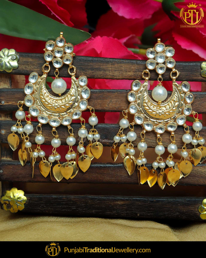 Antique Gold Finished Pearl Kundan Pippal Patti Earrings | Punjabi Traditional Jewellery Exclusive