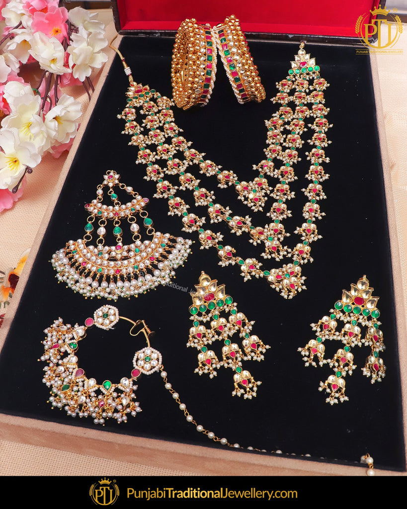 Gold Finished Kundan Green Red Choker Bridal Necklace Set & Openable Pair Bangle Set (Both Hand Pair), Passa, Nath | Punjabi Traditional Jewellery Exclusive