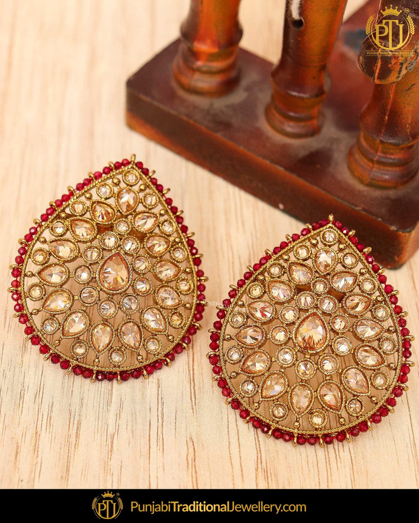 Gold Finished Rubby Chamapgne Stone Stud Earrings | Punjabi Traditional Jewellery Exclusive