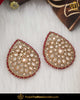 Gold Finished Champagne Stone Red Stud Earrings | Punjabi Traditional Jewellery Exclusive