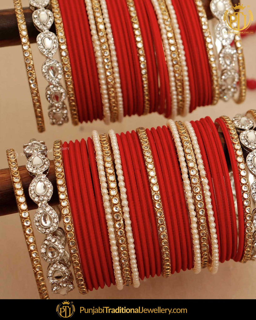 Red Pearl & Kundan (For Both Hands) Bangles Set | Punjabi Traditional Jewellery Exclusive