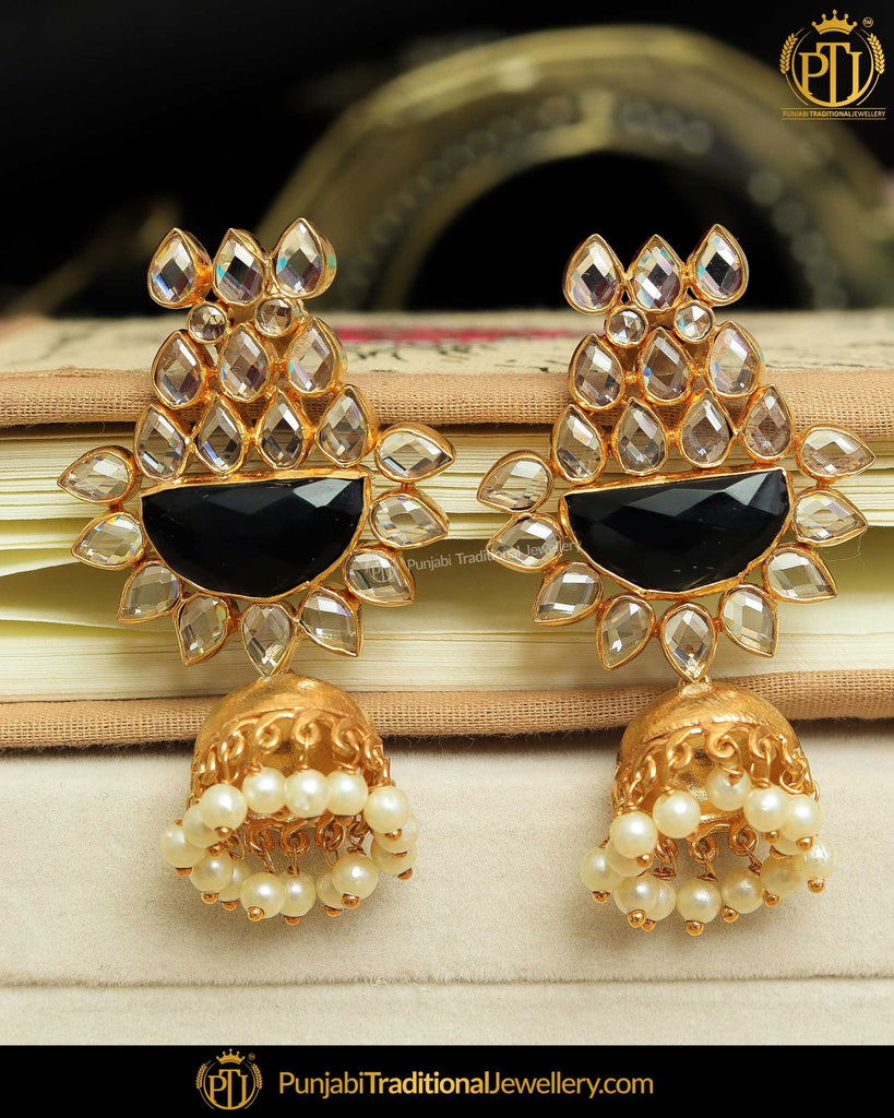 Gold Finished Blue Polki Earrings | Punjabi Traditional Jewellery Exclusive