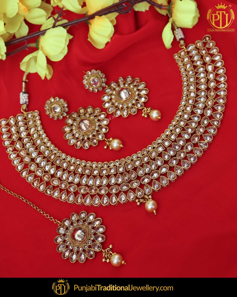 Gold Finished Chamapgne Stone Pearl Necklace Set | Punjabi Traditional Jewellery Exclusive