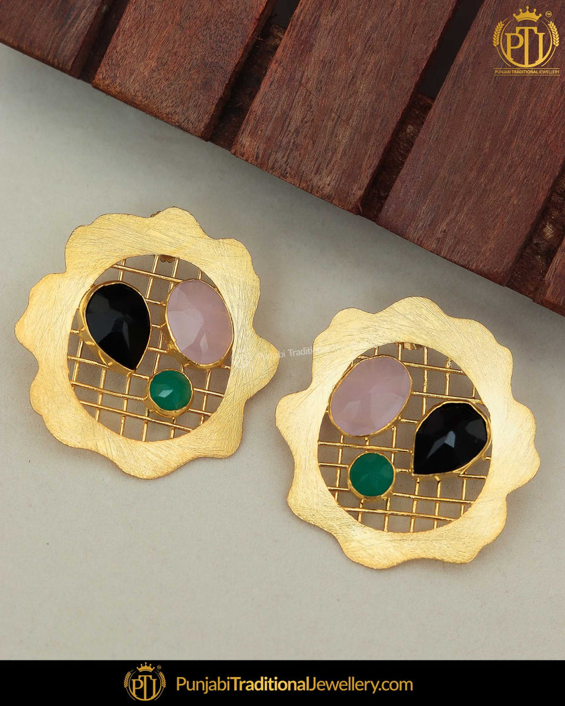 Gold Finished Pink, Blue & Black Stud Earrings | Punjabi Traditional Jewellery Exclusive