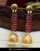 Gold Finished Rubby Emerald Polki Earrings | Punjabi Traditional Jewellery Exclusive