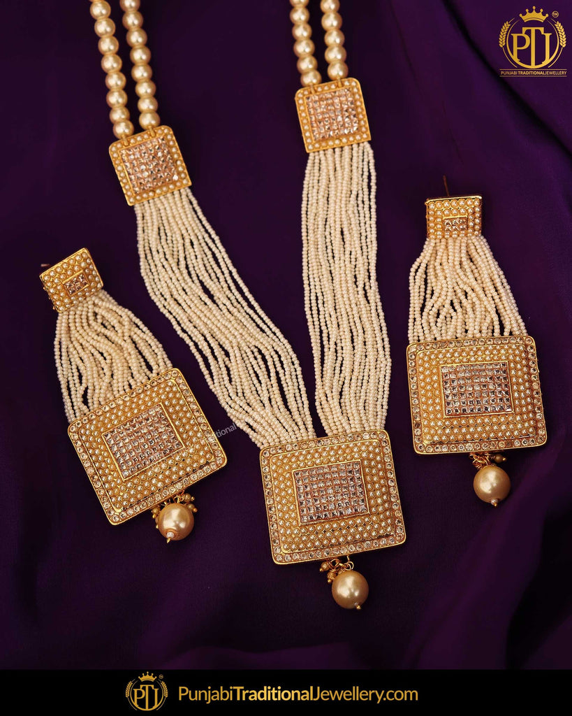 Gold Finished Pearl Mala Necklace Set | Punjabi Traditional Jewellery Exclusive