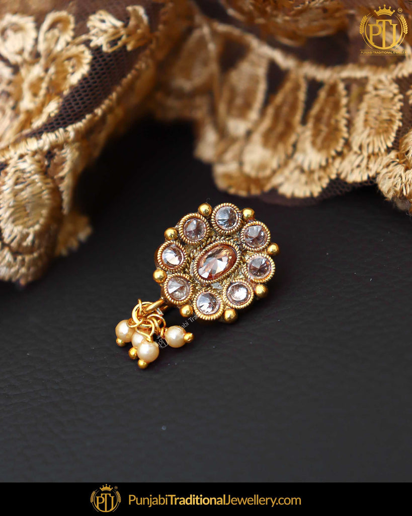 Gold Finished Champagne Stone Without hole Nose Pin| Punjabi Traditional Jewellery Exclusive