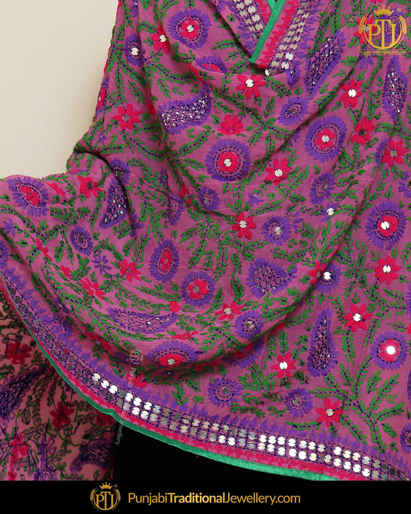 Green Shade & Blue Color Phulkari | Punjabi Traditional Jewellery Exclusive