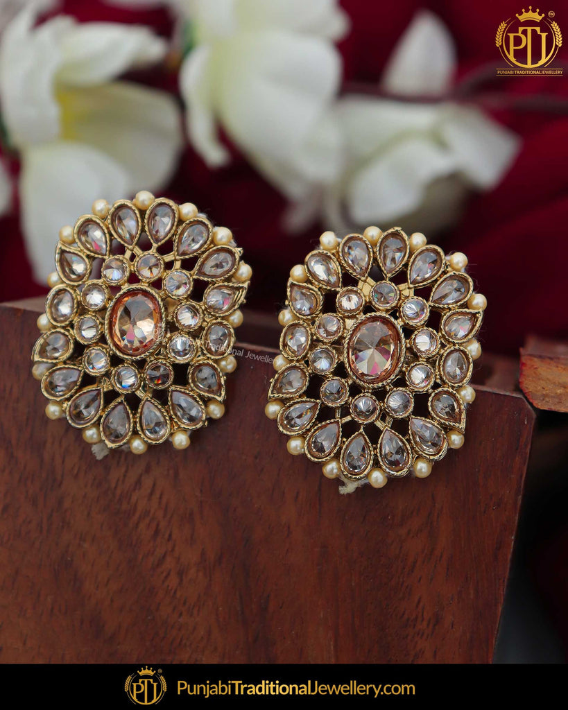 Gold Finished Pearl Champagne Stone Stud Earrings | Punjabi Traditional Jewellery Exclusive