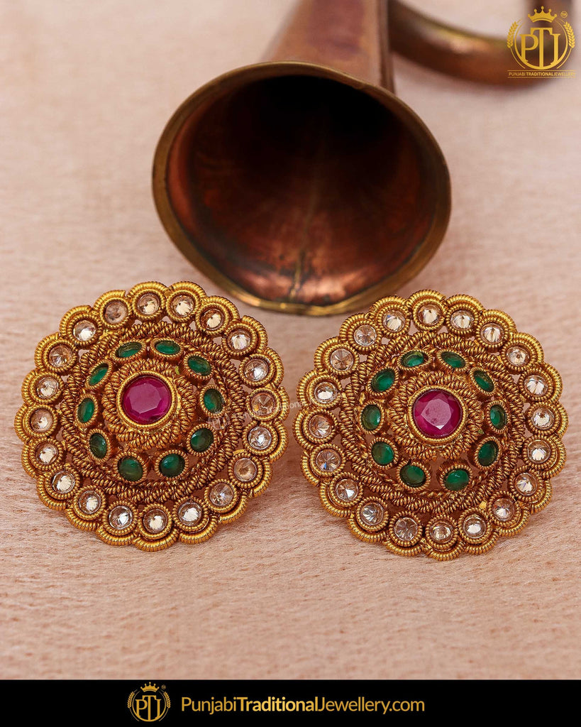 Gold Finished Emerald Rubby Chamapgne Stone Stud Earrings | Punjabi Traditional Jewellery Exclusive