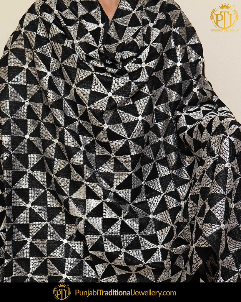 Black & White Double Color Phulkari | Punjabi Traditional Jewellery Exclusive