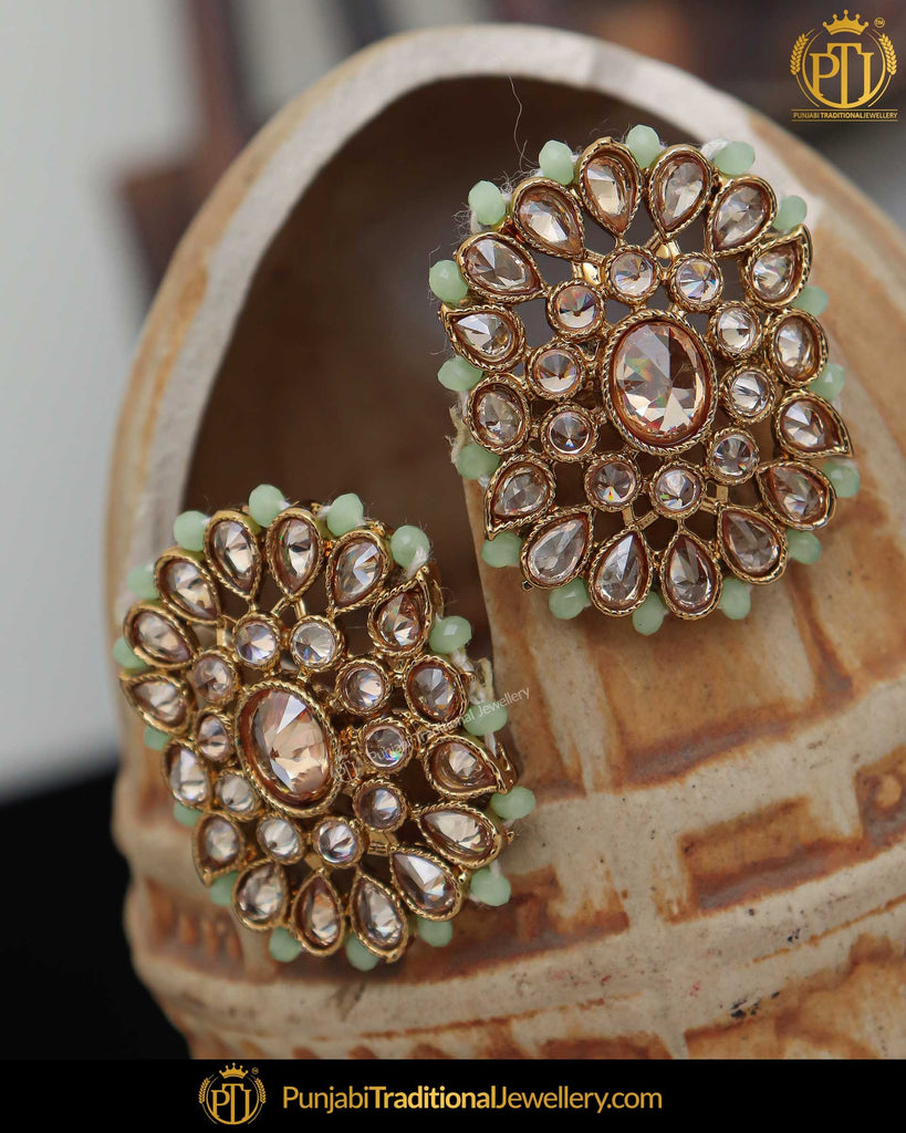 Gold Finished Pista Green Champagne Stone Stud Earrings | Punjabi Traditional Jewellery Exclusive