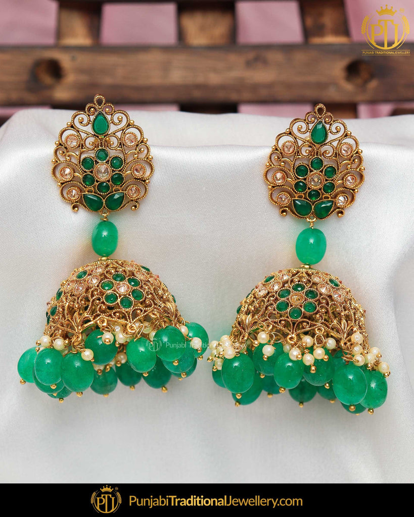 Gold Finished Chamapgne Stone Pearl Earrings | Punjabi Traditional Jewellery Exclusive