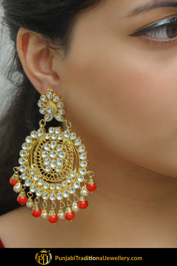 Badriyah Red Kundan Earrings  | Punjabi Traditional Jewellery Exclusive