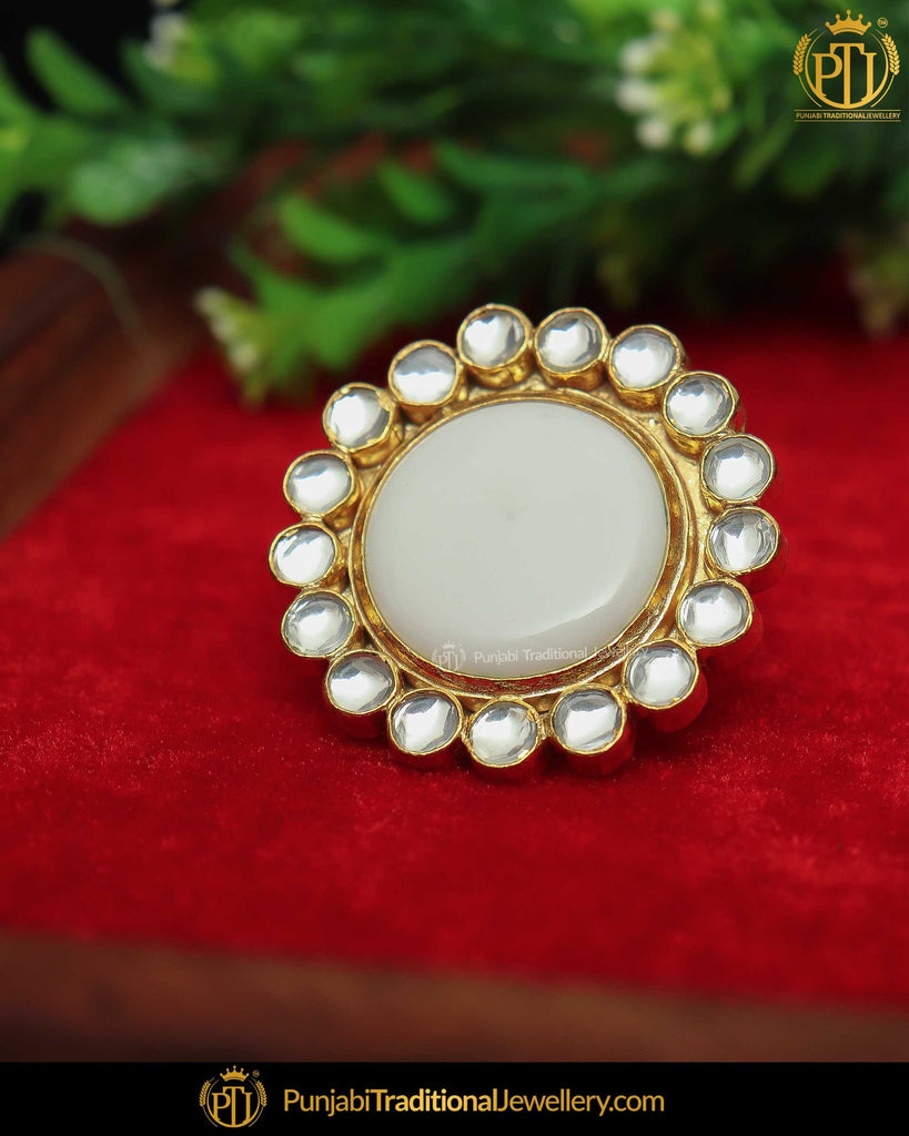 Gold Finished Pink Kundan Ring | Punjabi Traditional Jewellery Exclusive
