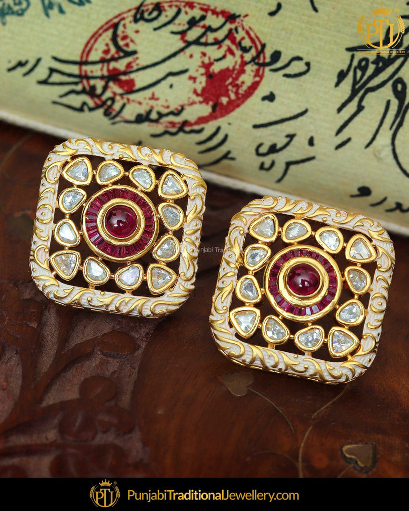 Hand Painted Meena Rubby Kundan Stud Earrings | Punjabi Traditional Jewellery Exclusive